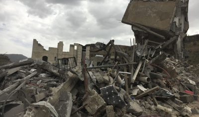 Yemen,  Sana'a, Faj Attan district. Destruction.