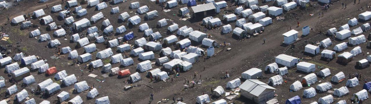 An aerial view of camps for internally displaced persons (IDPs), which have appeared following latest attacks by M23 rebels and other armed groups in the North Kivu region of the Democratic Republic of the Congo (DRC).