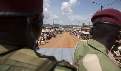 Central African Republic, Bangui. Seleka fighters patrol the streets.