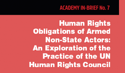 Vover page of the In-Brief No.7 Human Rights Obligations of Armed Non-State Actors: An Exploration of the Practice of the UN Human Rights Council