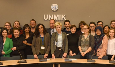 Group photo of LLM students during their study trip to Belgrade and Kosovo, at the UN Mission in Kosovo (UNMIK)