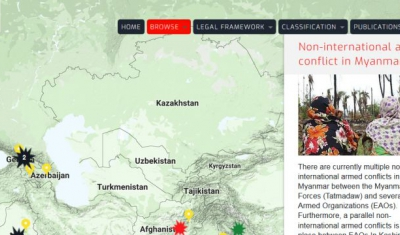 Map of the RULAC online portal with the pop-up window of the non-international armed conflicts in Myanmar