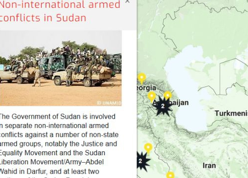 Map of the RULAC online portal with the pop-up window of the non-international armed conflicts in Sudan
