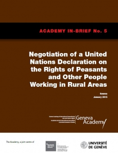Cover of the In-Brief No5: Negotiation of a United Nations Declaration on the Rights of Peasants and Other People Working in Rural Areas