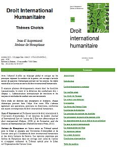 Cover of Droit international humanitaire, Thèmes choisis