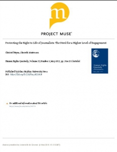 Cover of Protecting the Right to Life of Journalists: The Need for a Higher Level of Engagement
