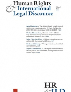 Cover page of the Human Rights and International Law Discourse Vol (12.1)
