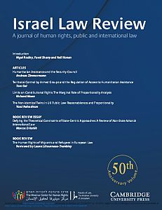 Cover of the Israel Law Review - Volume 50, Issue 1