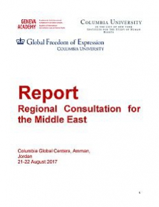 Cover of the Report of the Regional Consultation for the Middle East
