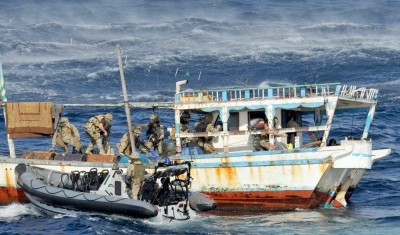 Royal Marines on counterpiracy operations near Somalia