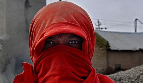 A woman worker at a construction site in India