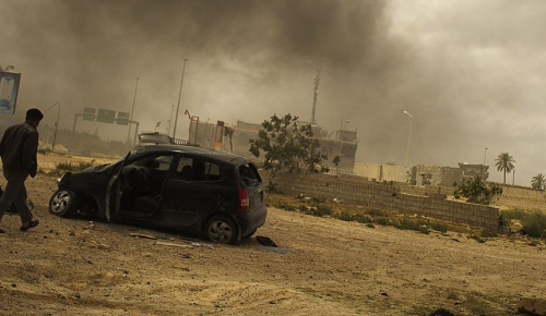 Libya, Misrata, Tripoli Street. After a battle between members of the armed opposition and government forces.