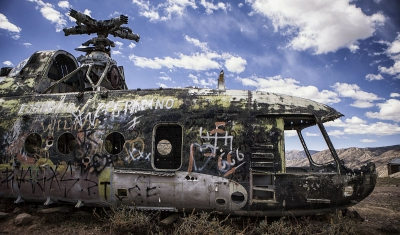 Peru, Huancasancos. A military helicopter allegedly shot down during the conflict in the early nineties.